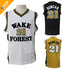 Tim Duncan Wake Forest College Basketball Jersey 21# High Quality Breathable fabrics 3Colors Throwback Free Shipping(China)