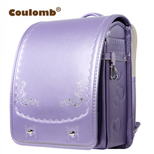 Coulomb Princess Embroidery Backpack For Children High Quality Waterproof School Bag Orthopedic Japanese PU Book Bags 2017 New(China)