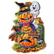 1 Pc Colorful 3D Cartoon Pumpkin Witch Door Window Decoration Sticker Halloween Party Bar Dance Props Funny Games Festival Gifts(China)