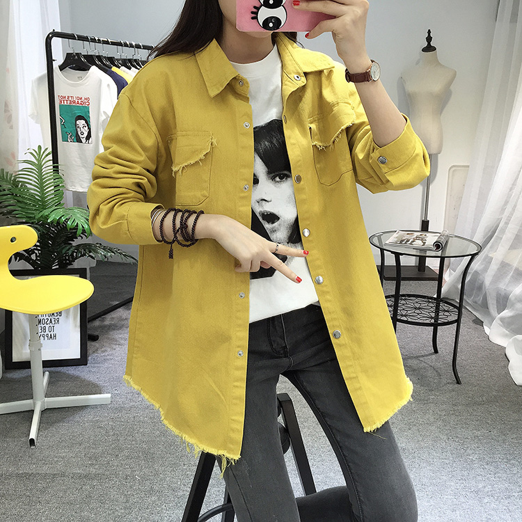 2018 Spring Autumn New Long Section Lapel Tassel Denim Jackets Women Loose Casual Long Sleeve Female\'S Thin Basic Jacket Coats (6)