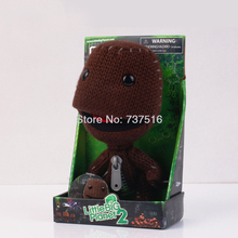 "New Spot Paper Box Lovely Red Tongue Little Big Planet 2 SACKBOY Figure Plush Toy 7"" Doll Soft Coffee X'mas Hot Toys(China)"
