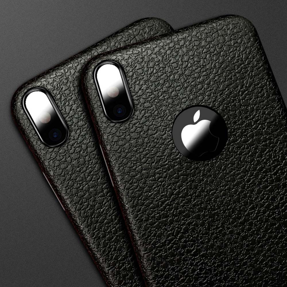 Conque For iPhone X Case Luxury Rubber Cover Leather Pattern Back Cover Soft Silocon Phone Case for iPhone X Phone Shell Cover 1