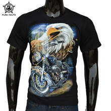 Punk Youth Brand Summer Rock 3D Eagle Motorcycle Men T Shirt Streetwear Feel Thunder T-Shirts Casual Cotton Short Tees