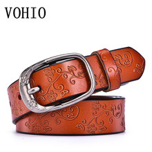VOHIO 2017 High Quality Women Embossing Pure Cowhide Leather Belt Ethnic Style Best Match Obi Wholesale Jeans Wide Students(China)