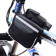 3color Bicycle Bike Cycling Bags Front Frame Tube Bag Handlebar Pannier Double Pouch racing Rack Pack For Mobile Phone Container