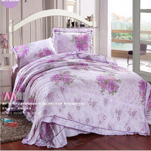 Cheap Bed Sets Chic Floral King Bedding Set Quality Duvet Cover Sets Korean Cute Fashion Bed Clothes Complete Bed Set for Girl(China)