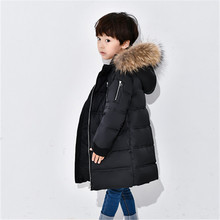 Plus Size Children down parkas Thickening Warm Down Jackets Boys Big Fur Hooded Outerwear BrandLong Coats Silver Black(China)