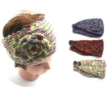 NEW Winter Crochet Headband Turban colorful Knit hairband Flower Winter Women Ear Warmer Headwrap Drop shipping