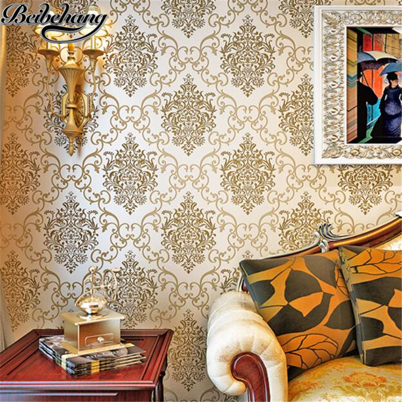 beibehang Three - dimensional Continental Damascus living room background wallpaper warm bedroom beige flocking gold wallpaper<br>