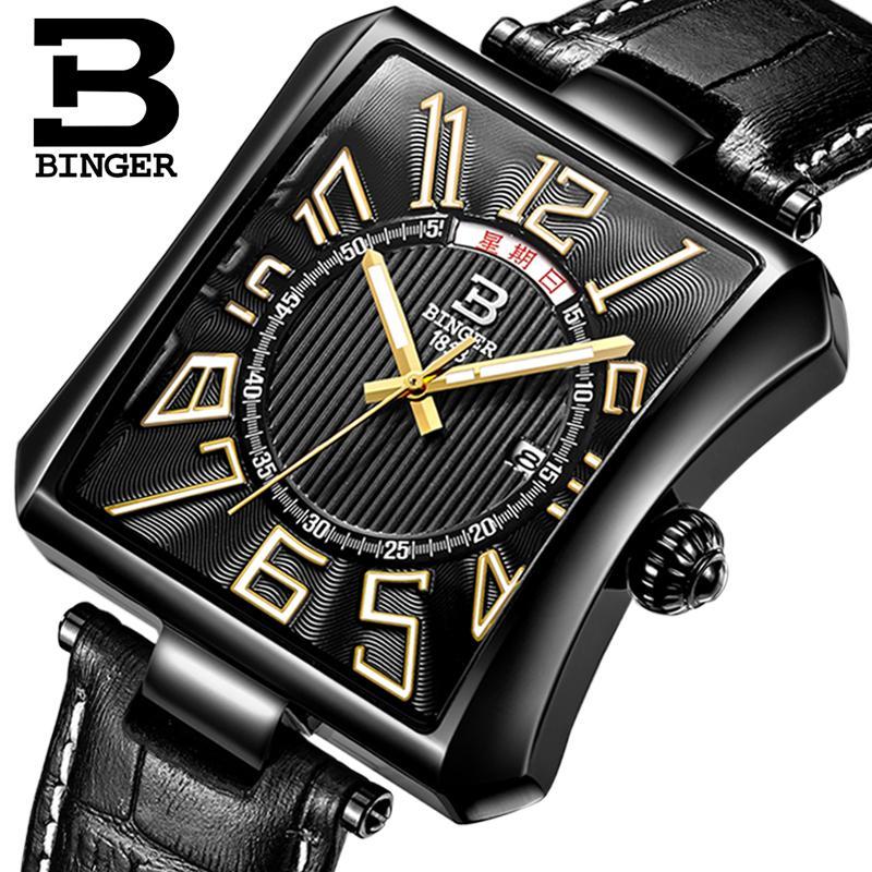 Switzerland BINGER mens watch luxury brand Tonneau Quartz waterproof leather strap Wristwatches B3038-3<br>