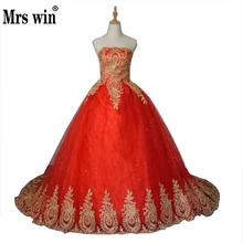 2016 New Ball Gown Lace Tulle Red Wedding Dress with tail Chinese Pattern Style Cheap China Embroidery Bridal Gown(China)