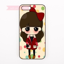 cartoon little lovely girl Minimalist Hard Back Cover Phone Case For iphone 4 4s 5 5s 5c se 6 6S 7 Plus iPod Touch cases trendy(China)