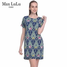 Max LuLu Brand Clothing Summer 2017 Fashion Bohemian Womens Print Dress A Line Short Sleeve Ladies Boho Party Dresses 4XL Blue(China)