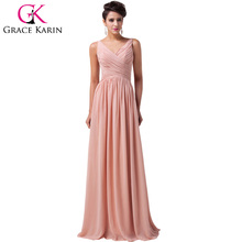 2017 Grace Karin cheap Long Prom Dresses Formal Gown Ruched Chiffon Women elegant blue Watermelon Red Green Dress 6010
