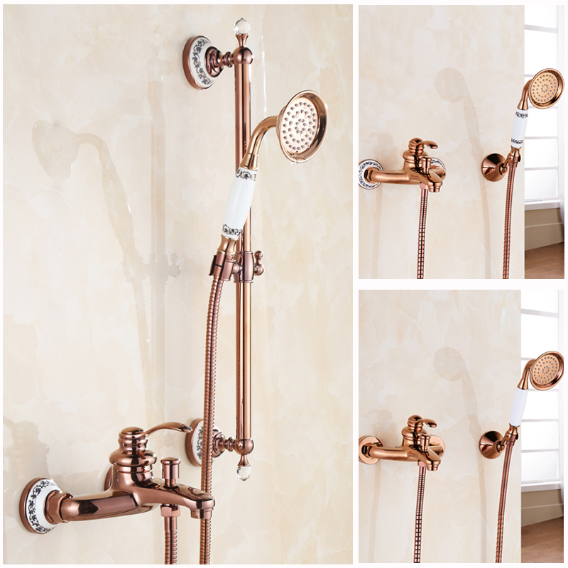 Luxury Rose gold Single Lever Shower Set Faucet Wall Mounted Brass Sliding Bar Bath Shower Mixer Taps<br><br>Aliexpress