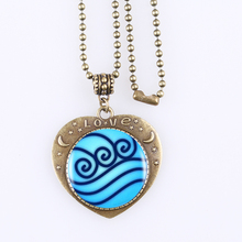 1pcs Legend Of Korra Water Tribe Heartshaped Pendant Jewelry Avatar the Last Airbender Necklace Bronze Retro Necklace For Men(China)