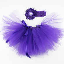 Baby Tutu Skirt with Headband 20 colors Toddler Girl Pettiskirt Cute Ball Gown Tulle Skirts for Girls Infant Clothing 3M-18M(China)