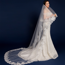 2017 Hot Sale Long Veils For Weddings 3 Meters Long Lace Embellished Bridal Veil Cathedral Wedding Veil