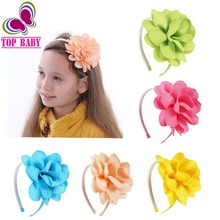 2Pcs/lot High Quality 13Colors Grosgrain Ribbon Flower Hairband Baby Hair Bands With Teeth For Children Hair Accessories