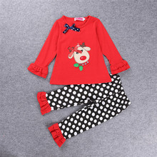 2016 Christmas Outfits Kids Frock Designs Cotton Set Wholesale Children's Boutique Clothing Baby Girls Cotton Outfit 81199