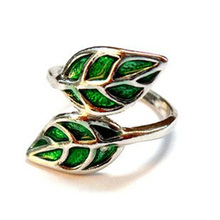 Fshion charms jewelry Vintage anillos Ladies Jewelry Silver Gold Color Leaf Green Rings For Women