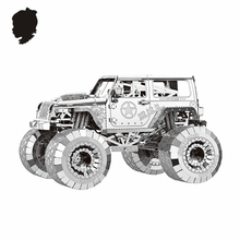 WARNGLER CAR NANYUAN I32205  PUZZLE 4WD Jeep Metal Assembly Model Developing hands-on ability 3 Sheets DIY Toys & gifts