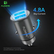 FLOVEME 5V/4.8A Dual Port USB Car Charger For iPhone 7 X 8 Universal Mini Metal Mobile Car-charger For Samsung S8 Xiaomi Adapter(China)