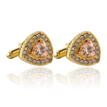 2017 New jewelry selling high-grade crystal Men's enamel luxury cufflink Rhinestones French cuff gold color cufflinks Zircon(China)