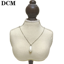DCM OL Lady Style Imitation Peal Necklace silver Color Fashion Jewellery Nickel Free Pendant Crystal(China)