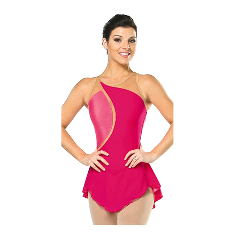 Customized Costume Ice Figure Skating skirt Gymnastics Dress Competition Adult Child Girl Performance Rose Red Strapless(China (Mainland))