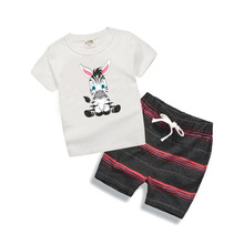 Baby Boys Clothes Summer 2017 New Fashion Cartoon Zebra Cute Toddler Boys Clothing Set Short Sleeved Tshirt+Shorts 2Pcs T6014