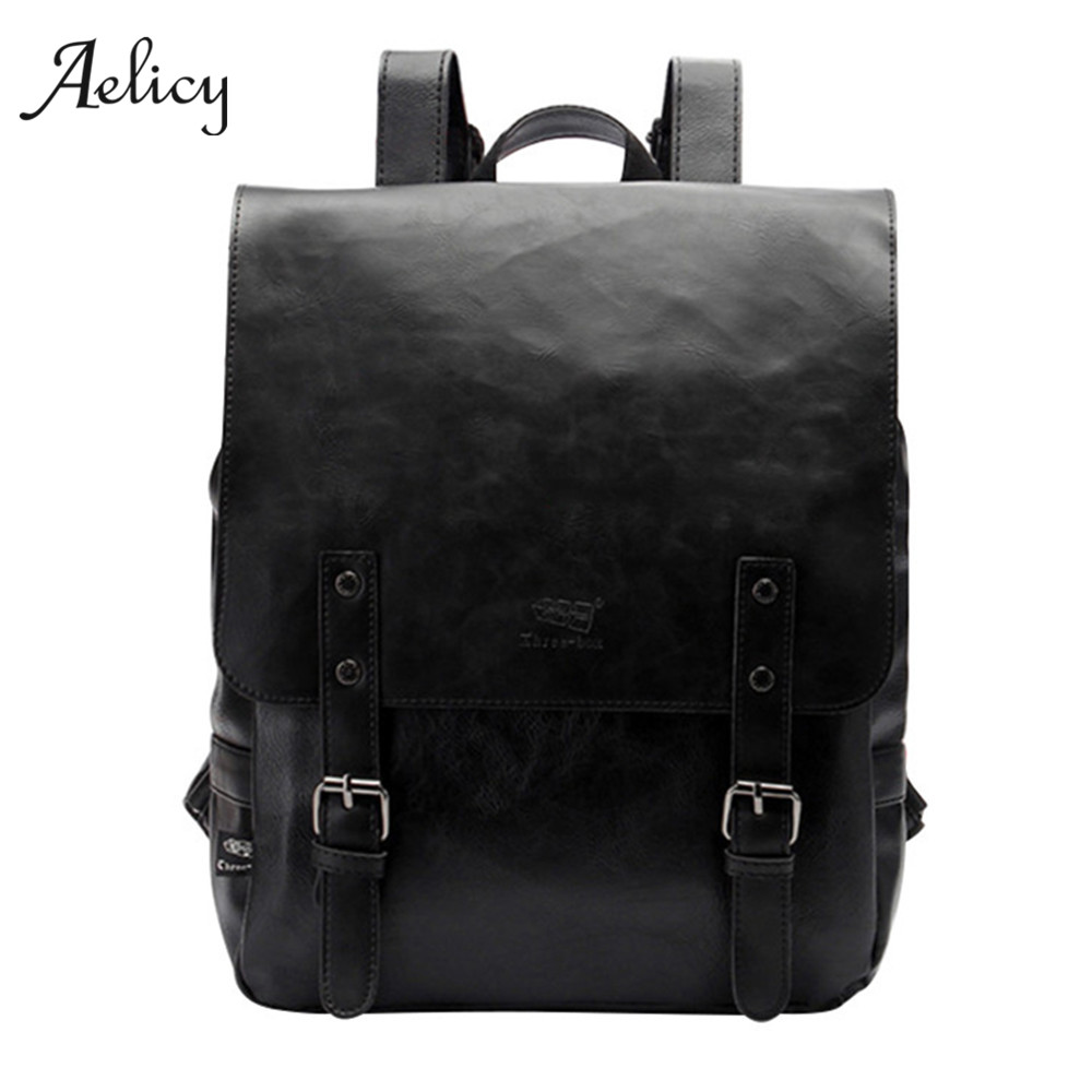 Aelicy Fashion Backpacks Vintage PU Leather Brand Backpack Male Business Mochila Large Capacity Preppy Style School Backpack<br>