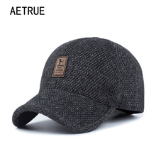AETRUE Men Snapback Baseball Cap Brand Bone homme Earflaps Dad Hats For Men Gorras Casquette Chapeau Thicken Warm Winter Hat(China)