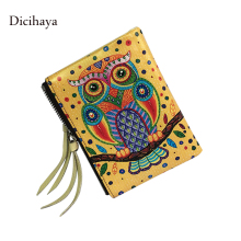 DICIHAYA Brand Genuine Leather Women's Cute Owl Wallet Short Designer Women Wallets Female Purse For Coins Ladies Clutch Bags
