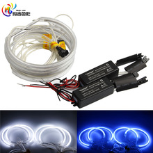 4x131mm White Blue 6000K Car Halo Rings CCFL LED Angel Eyes headlights Rings for BMW E46,E36,E39,E318 A04 with 2 Transformer