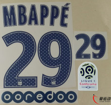 2017 2018 ПСЖ далеко mbappe 29 компл. + Ligue 1 патч + OOREDOO mbappe #29 nameset(China)