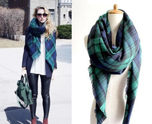 Free Shipping New Fashion Brand Winter Green Checked Plaid Tartan Wrap Shawl Pashmina Scarves For Christmas Gift