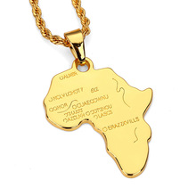 Fashion Design Men Charms Pendants Map Africa Hip Hop Necklaces Filling Pieces Mens Necklace Costume Hip Hop Jewelry Cheap Sale(China)