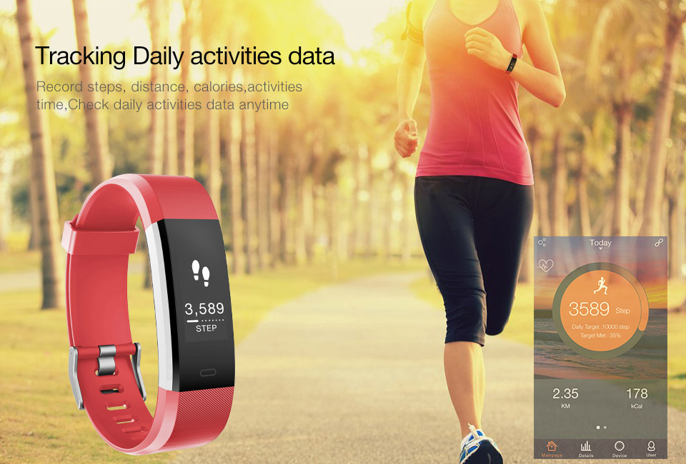 ID115 HR Plus Smart Bracelet Heart Rate Monitor Fitness tracker Bluetooth Smartband Wrist Band for IOS Android Phone Wristband
