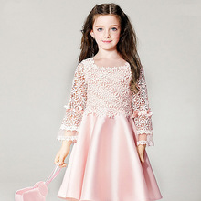 Nicoevaropa New Girls Dresses Baby kids Pink Long Sleeves Lace Hollow Out Party Wedding Dress Fashion Children Clothes