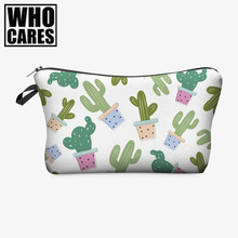 Fresh Cactus 3D Printing cosmetic bags women makeup bag New pencil case vanity neceser maquillaje travel organizer make up bag(China)