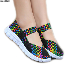 RIUOOPLIE Women's Shoes Elastic Band Hand-woven Flat  Mother Casual Sports Single Shoes Sofe Breathable Light