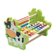 Children's Baby Kids Early Learning Educational Toy Bike Beads Piano Hand Knock Wooden Piano Child Care Calculation Frame(China)