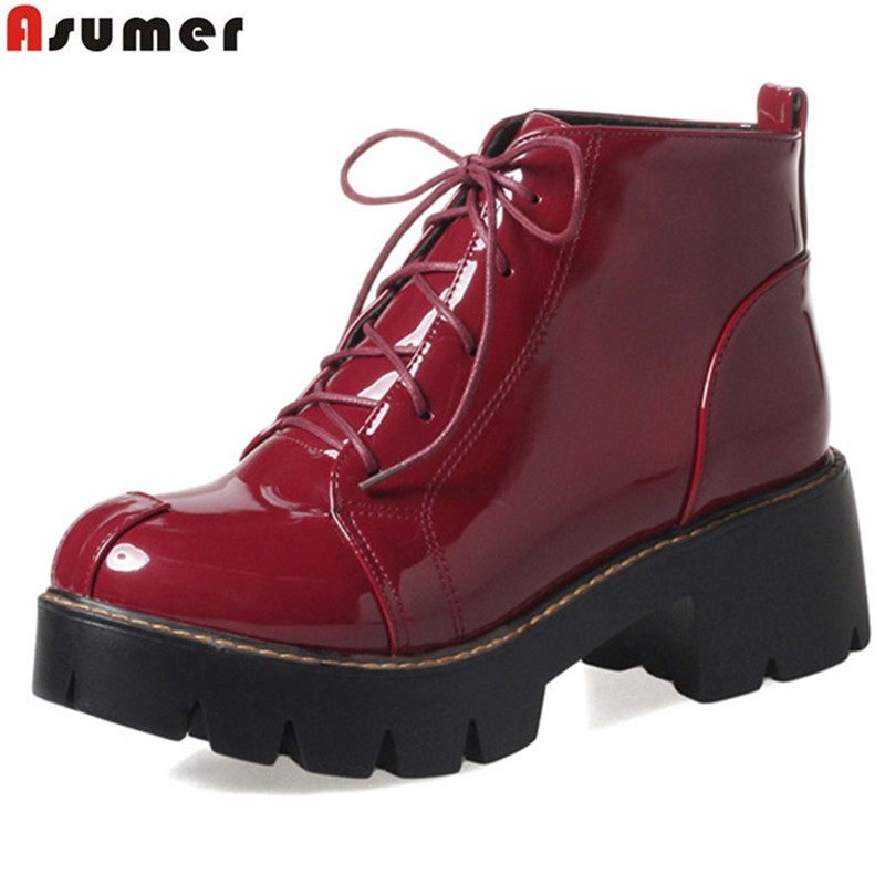 ASUMER fashion lace up black  wine red women boots simple platform ankle boots round  toe autumn winter boots big size 34-43<br>