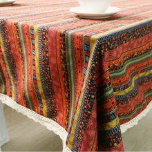 Bohemia Style Table Cloth with Lace Southeast Asia Mosaic pattern Print Multifunctional rectangle Tablecloths Table Cover GQ22(China)
