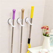 TENSKE Hooks Wall Housekeeper Home Bathroom Kitchen Sucker Mop Holder Hooks Bar With Suction Hooking 103*65*42mm 122(China)