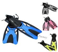Soft Adjustable Full Foot Diving Fins TPR+EVA In Blue Yellow Pink Gray S M L XL Size Scuba Gear for child and adult