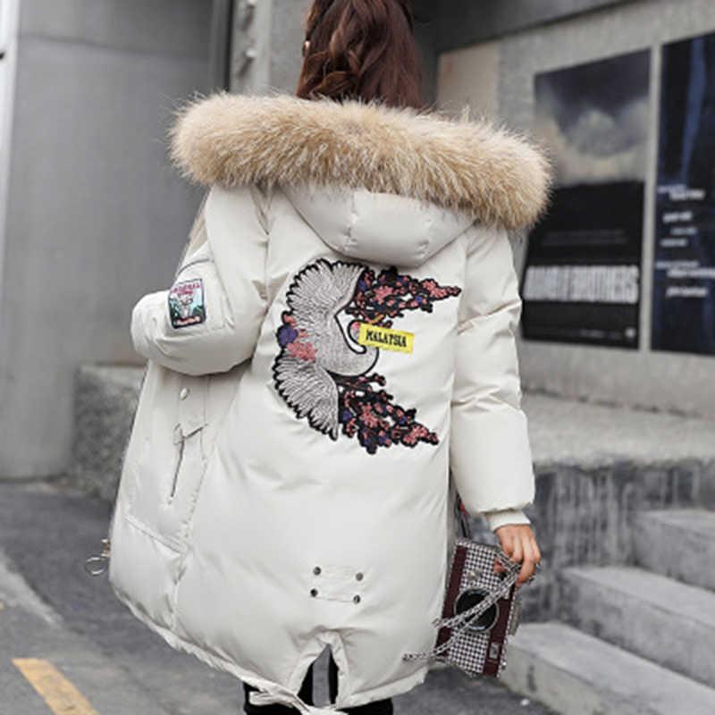 231e72cef47e Зимние куртки женские с вышивкой пальто большой меховой воротник с  капюшоном пуховик теплая длинная парка женские