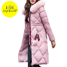 BiSHE 2017 Winter Jacket Women Coat Long Slim Faux Fur Hooded Plus Size 3XL Jackets Womens Wadded casacos de inverno feminino(China)