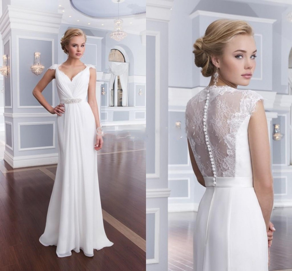 romantic simple beach wedding dresses 2019 custom made v neck a line chiffon beaded women bridal gown for party